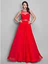 A-line prințesă bijuterie gât pardoseală lungime chiffon rochie de bal cu beading de ts couture®
