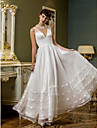 Lanting Bride A-line Petite / Plus Sizes Wedding Dress-Ankle-length V-neck Organza / Tulle