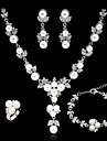 Wedding Bridal Alloy With Imitation Pearl Jewelry Set Including Necklace,Earrings,Bracelet,Ring