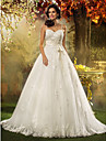 A-line/Princess Plus Sizes Wedding Dress - Ivory Court Train Spaghetti Straps Tulle