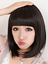 Capless Short Bob High Quality Synthetic Natural Black Straight Hair Wig Full Bang