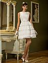 Vestido de Noiva - Marfim Trapezio Canoa Curto/Mini Tafeta Tamanhos Grandes