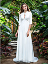 Sheath/Column Plus Sizes Wedding Dress - Ivory Court Train V-neck Georgette