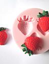 tre hål jordgubbar frukt silikonform fondant formar socker hantverksredskap chokladform för tårtor