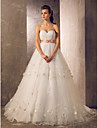 Lan Ting Princess/Sheath/Column Plus Sizes Wedding Dress - Ivory Sweep/Brush Train Sweetheart Tulle