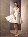 A-line/Princess Plus Sizes Wedding Dress - Ivory Knee-length V-neck Tulle