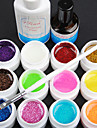 15PCS 12 Color 8ML Glitter Powder UV Color Gel  Nail Art Set D