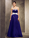 Lanting Bride® Floor-length Satin Bridesmaid Dress - A-line Strapless Plus Size / Petite withLace / Sash / Ribbon / Side Draping /