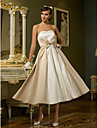 A-line / Princess Petite / Plus Sizes Wedding Dress - Ivory Tea-length Sweetheart Satin