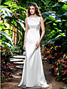 Lan Ting Sheath/Column Plus Sizes Wedding Dress - Ivory Sweep/Brush Train Bateau Stretch Satin