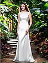 Sheath/Column Plus Sizes Wedding Dress - Ivory Sweep/Brush Train Bateau Stretch Satin