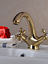 Traditionnel Set de centre Pivotant with  Valve en ceramique Deux poignees un trou for  Ti-PVD , Robinet lavabo