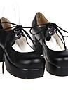 Chaussures Lolita Classique/Traditionnelle Fait a la Main Talon haut Chaussures Couleur Pleine 7.5 CM Noir Pour FemmeCuir PU/Cuir