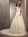 A-line/Princess Plus Sizes Wedding Dress - Ivory Court Train Sweetheart Tulle/Satin