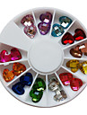 24PCS 12-Color Glitter Loving Heart Shaped Rhinestones Nail Art Dekorationer