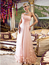 Homecoming Dress - Pearl Pink Plus Sizes Sheath/Column Strapless Floor-length Tulle