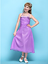Lanting Bride Tea-length Chiffon Junior Bridesmaid Dress A-line Halter Natural with Side Draping