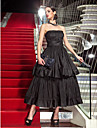 Homecoming Formal Evening/Military Ball Dress - Black Plus Sizes A-line Strapless Tea-length Taffeta