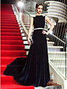 Military Ball/Formal Evening Dress - Dark Navy Plus Sizes A-line Scoop Sweep/Brush Train Velvet