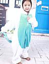 Kigurumi Pyjamas Unicorn Leotard/Onesie Halloween Animal Sovplagg Vit / Blå Lappverk Flanell Kigurumi Barn Halloween