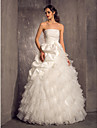 Lanting Bride Princess Petite / Plus Sizes Wedding Dress-Floor-length Strapless Organza / Taffeta