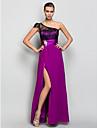 Linia -A Pe Umăr Lungime Podea Georget Seară Formală Bal Militar Rochie cu Detalii Cristal Dantelă Ruching de TS Couture®