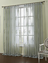 (Two Panels)Graceful Country Liscio Maple Leaves Sheer Curtain