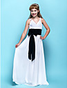 Floor-length Chiffon Junior Bridesmaid Dress - White Sheath/Column V-neck