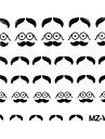 2ST Beard Nail Art Stickers Blandat Mönster No.07-08