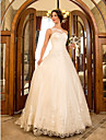 A-line/Princess Plus Sizes Wedding Dress - Ivory Sweep/Brush Train One Shoulder Tulle/Lace