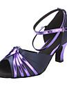 Kvinnors Satin & Läder Ankle Strap Sandals Latin Dansskor