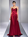 Formal Evening/Military Ball Dress - Burgundy Plus Sizes A-line Straps Sweep/Brush Train Stretch Satin