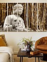 Stretched Canvas Art Landscape Buddha In The Bamboo Forest Set av 5