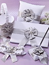 White Chiffon Wedding Collection Set with Gray Sash and Faux Pearl (5 Pieces)
