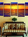 Stretched Canvas Art LandscapeSea Sunset Set av 5