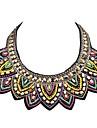 JANE STONE Colorful Neon Beaded Embroidery Handmade Bib Necklace