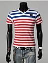 Män Casual V Collar Stripe kortärmad t-shirt