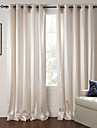 Two Panels Modern Floral / Botanical Beige Living Room Polyester Panel Curtains Drapes