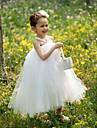 Ball Gown Tea-length Flower Girl Dress - Tulle Sleeveless
