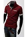Men\'s Plus Size White/Black/Blue Check Contrast Color POLO T-Shirt