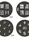 1 st M-serie Rundade abstrakt design Nail Art stämpel Stämpling Mall Plate No.73-76 (Blandade Mönster)