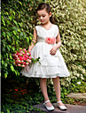 Flower Girl Dress - Mode de bal/Princesse Longueur genou Sans manches Satin/Tulle