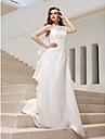 Свадебное платье - Цвет слоновой кости А-силуэт/Принцесса Тонкие бретельки До пола Органза Большие размеры