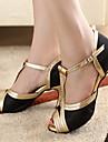 Customizable Women\'s Dance Shoes Ballroom/Latin/Salsa Satin/Leatherette Customized Heel Gold