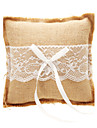 Wedding Ring Pillow In Beige Linen With Lace