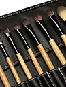 18pcs Makeup Brushes set Natural Timber/wood handle powder/Blush/concealer brush eyeshadow/brow/eyeliner/lip brush Cosmetic Brush Black Leather Bag