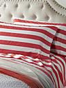 Epaisse feuille Red Stripe Set, 4 pieces 100% coton