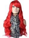 Red Party Capless High Quality Long Big Wave Synthetic Wig Side Bang