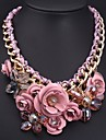 Women\'s European and American Luxury Pink Flowers Gemstone Necklace