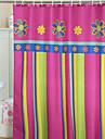 Vivid Färgglada blommor och Stripe Duschdraperi